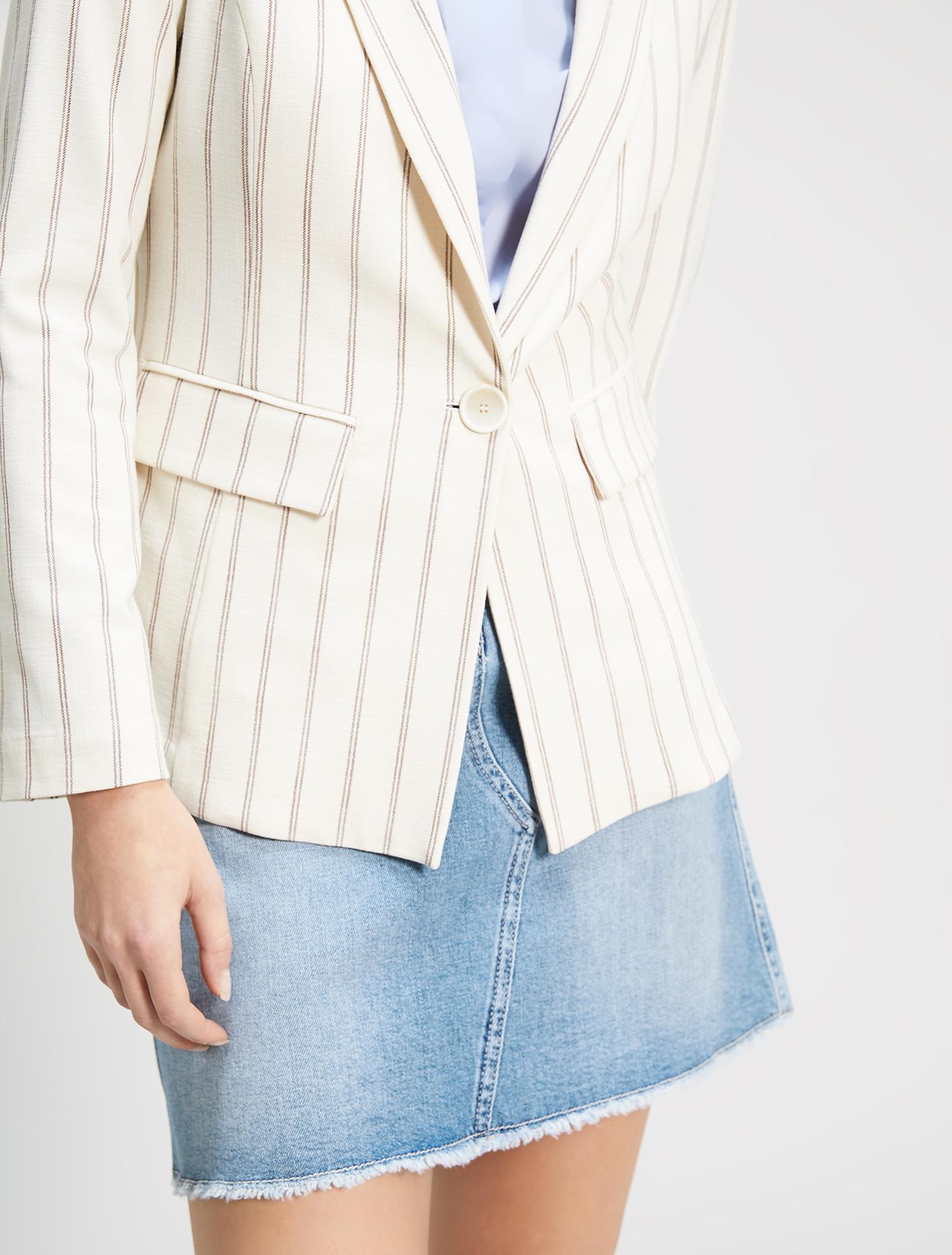 Slubbed basketweave blazer. - beige pattern - pennyblack