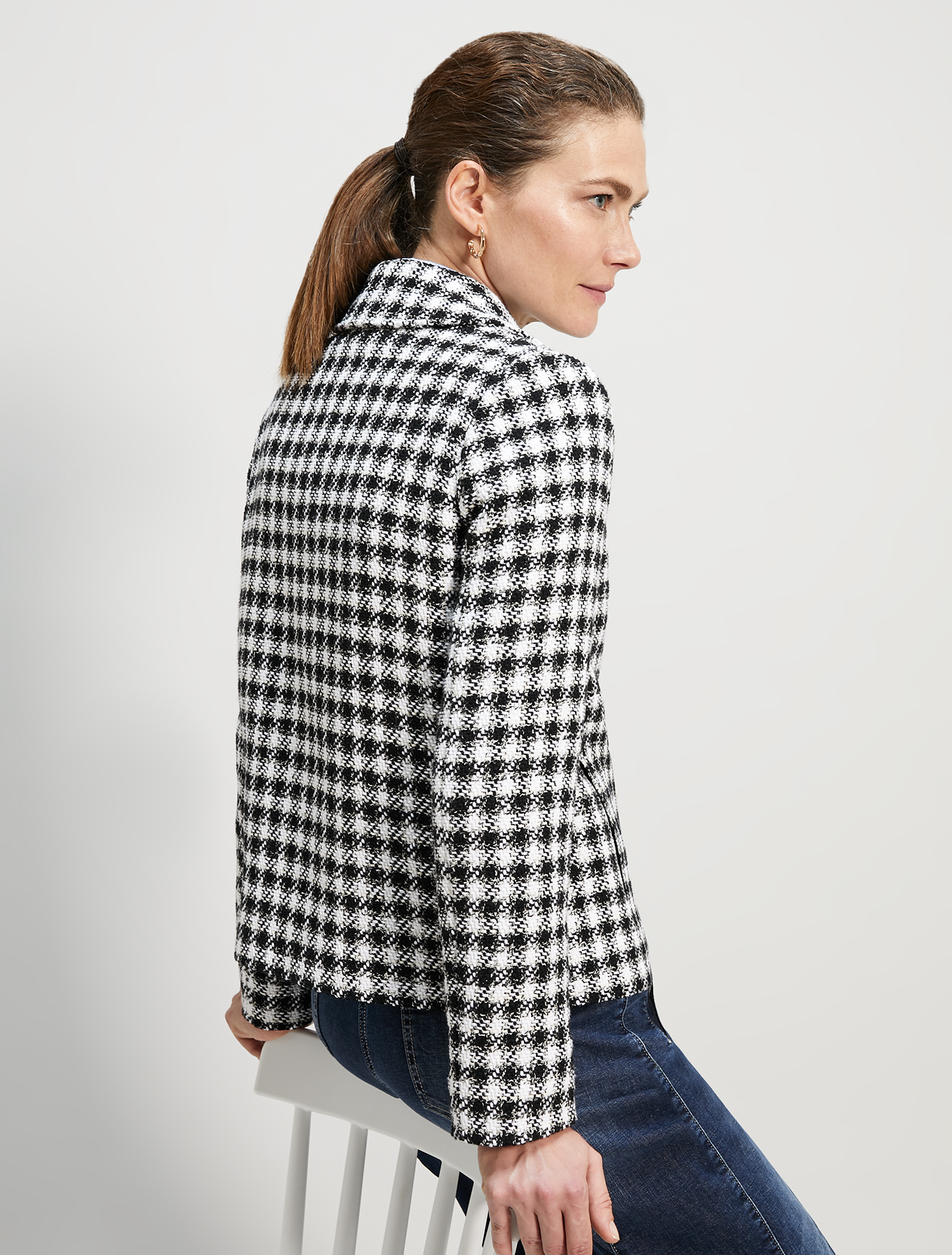 Pea coat in lamé basketweave - black pattern - pennyblack