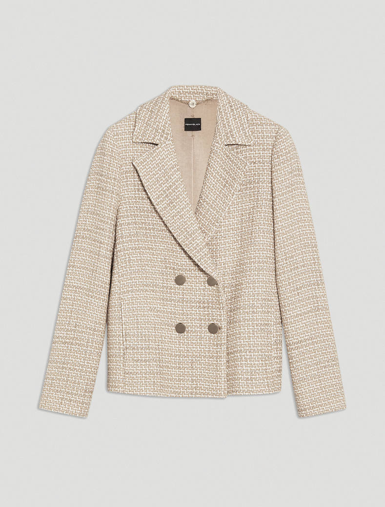 Pea coat in lamé basketweave - beige pattern - pennyblack