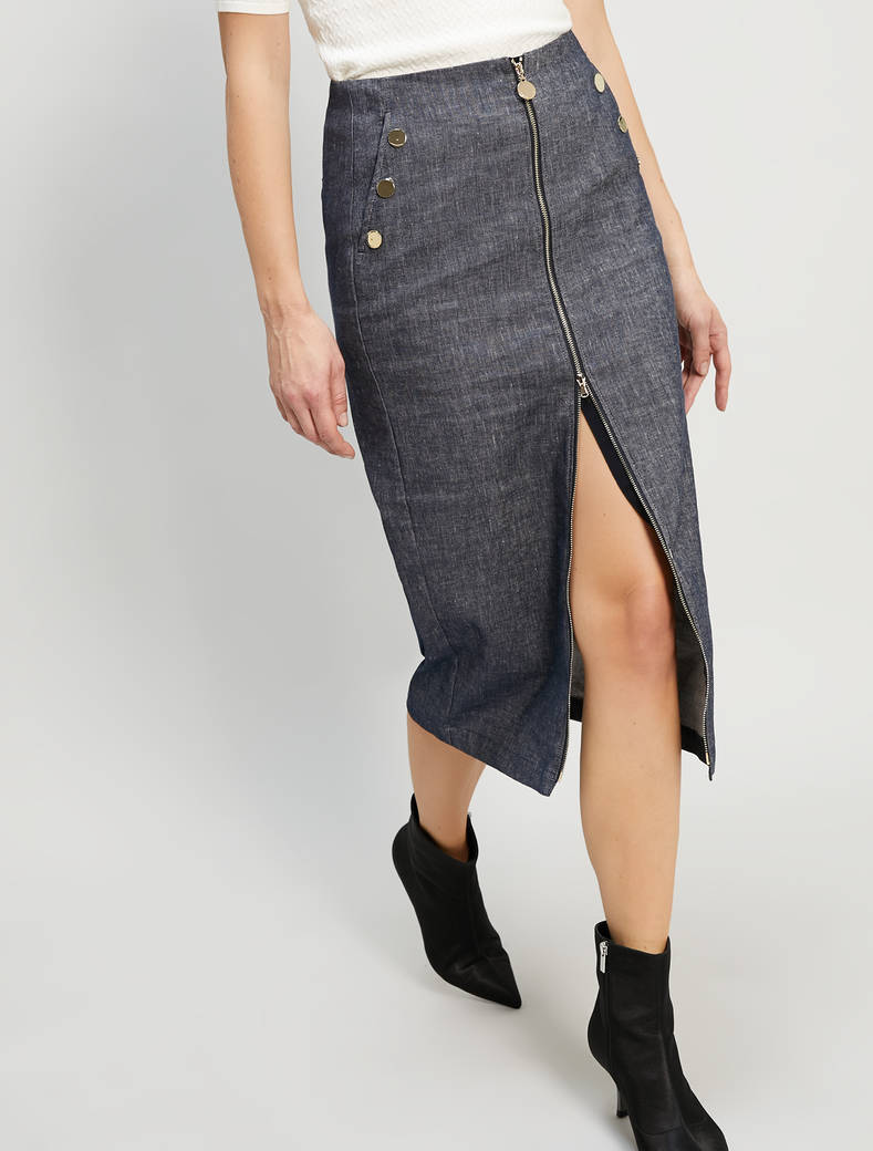 Linen and cotton skirt - navy blue - pennyblack