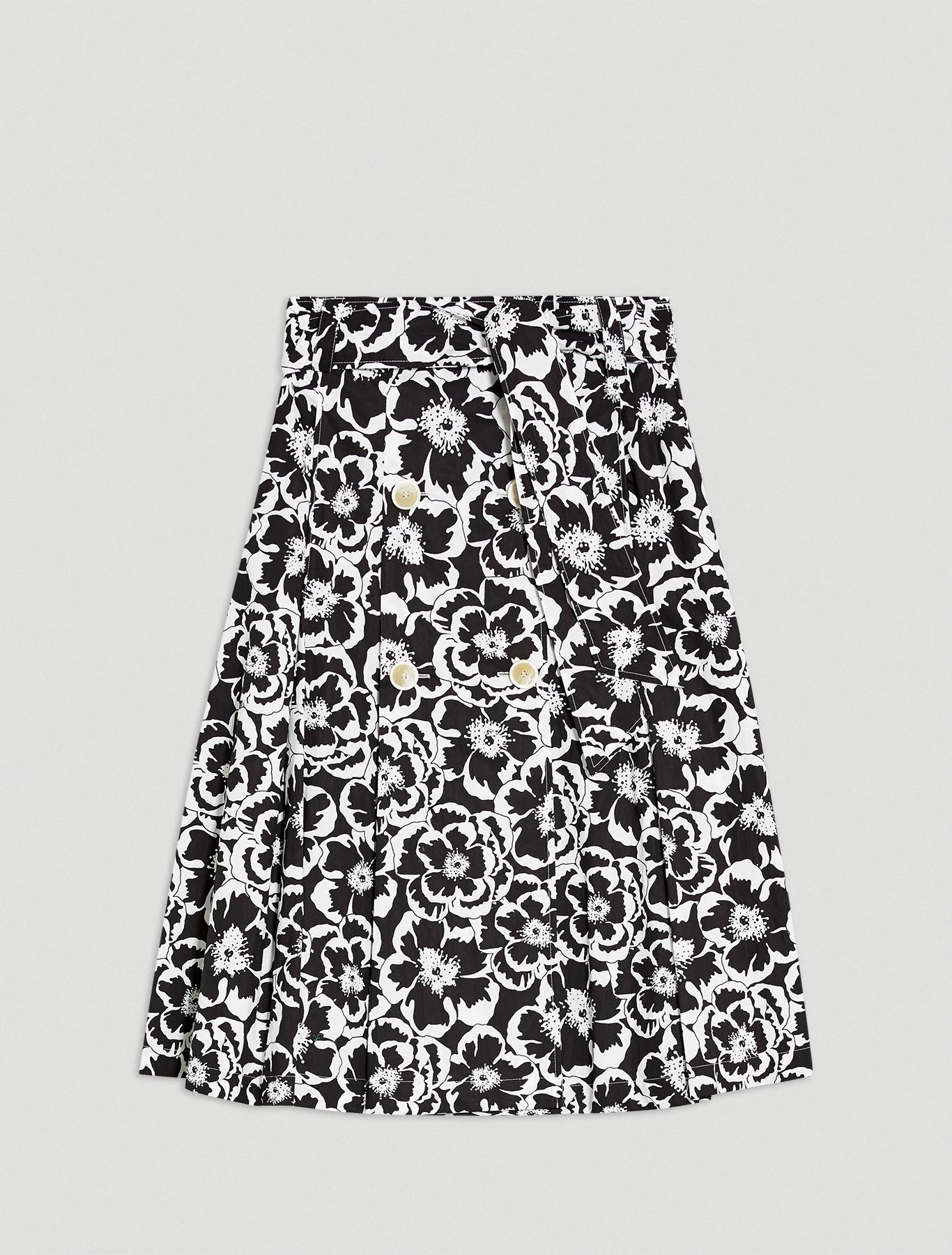 Floral poplin skirt - black pattern - pennyblack