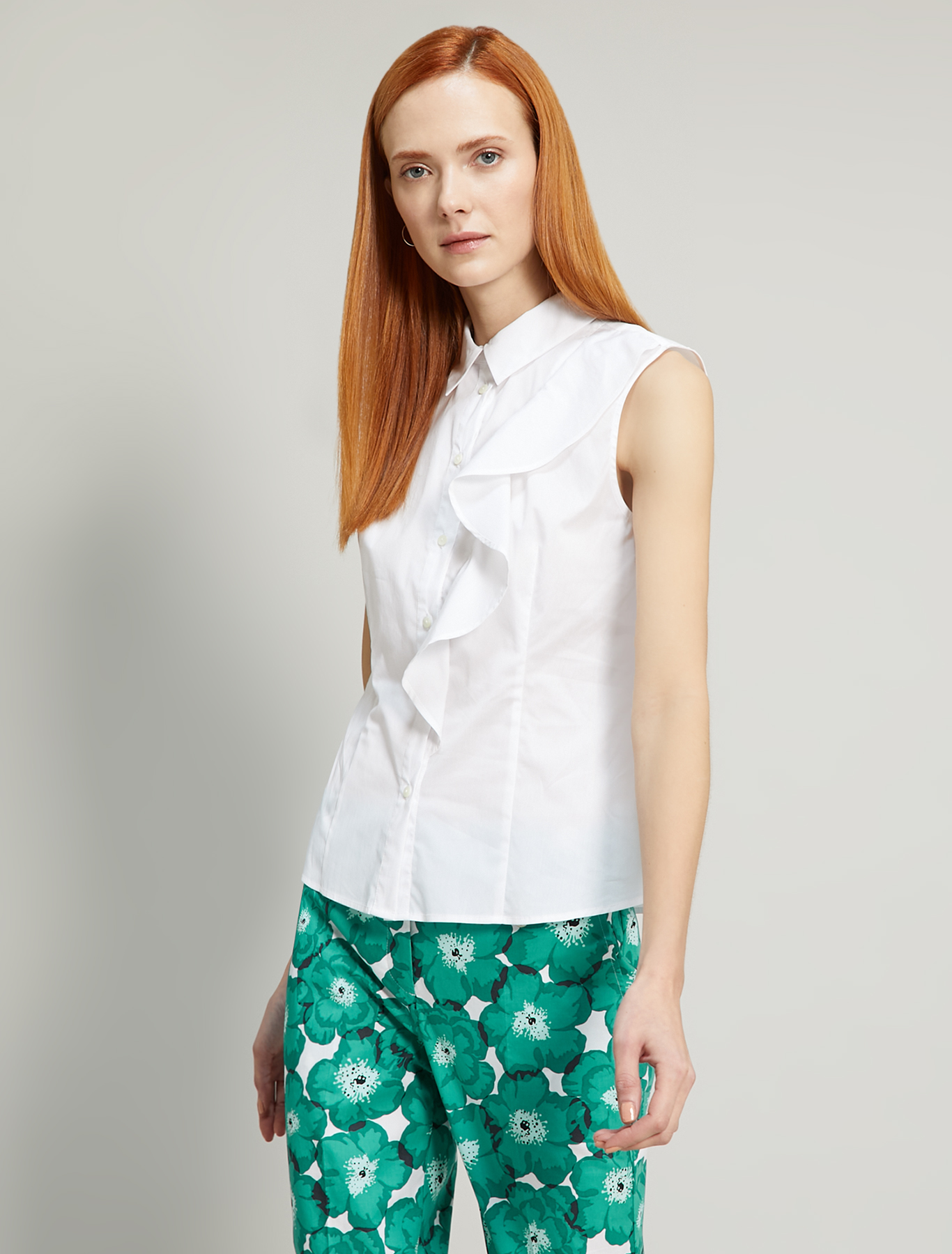 Poplin shirt with flounce - white - pennyblack
