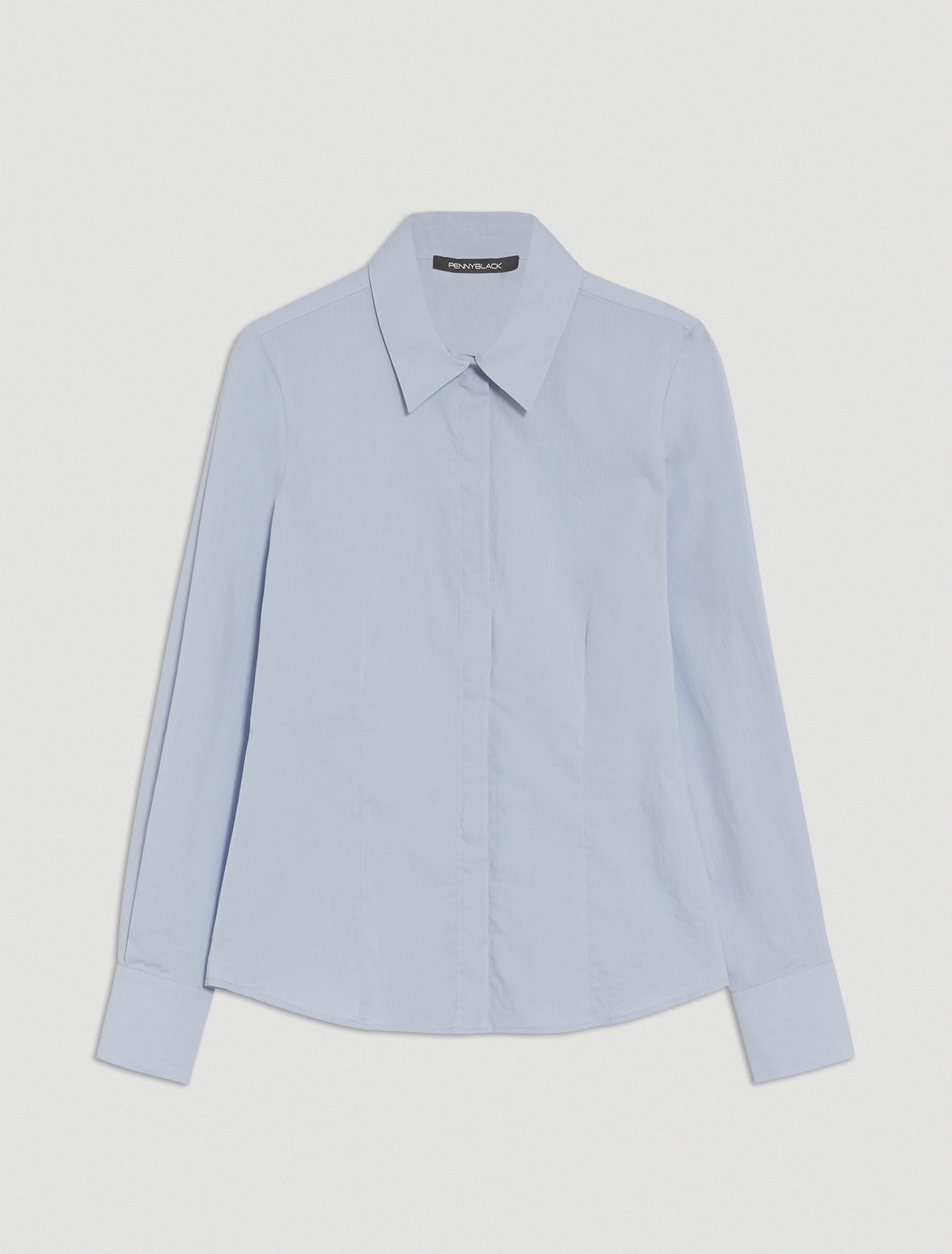 Slim poplin shirt - light blue - pennyblack