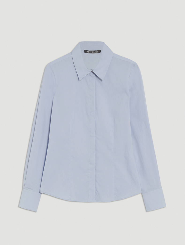 Slim poplin shirt - light blue - pennyblack