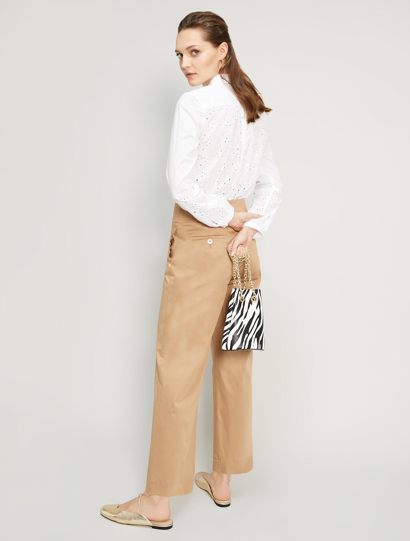 Poplin and Sangallo shirt - white - pennyblack