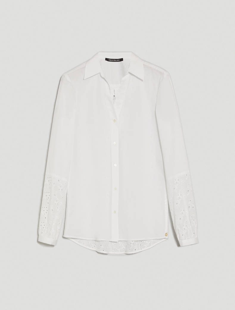 Poplin and Sangallo shirt - white - pennyblack
