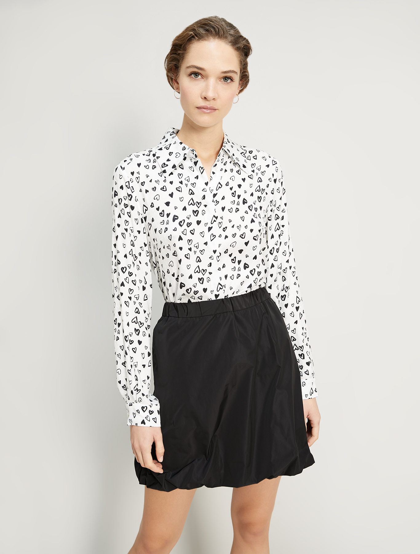 Shirt with jacquard texture - ivory pattern - pennyblack