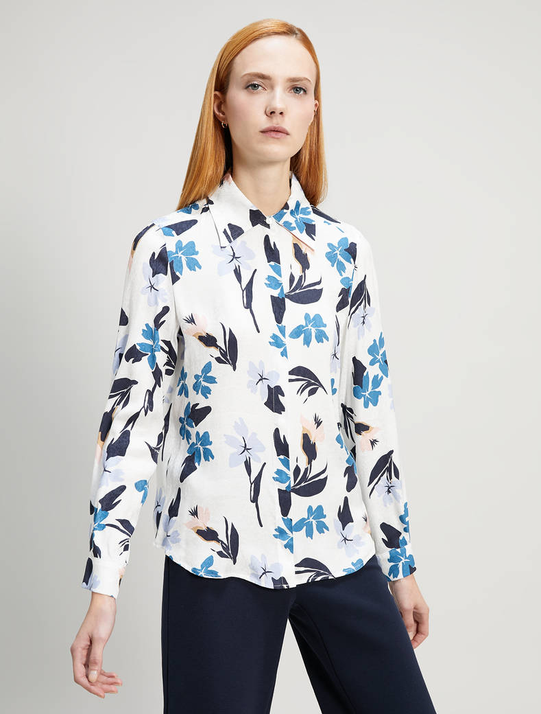 Shirt with jacquard texture - white pattern - pennyblack