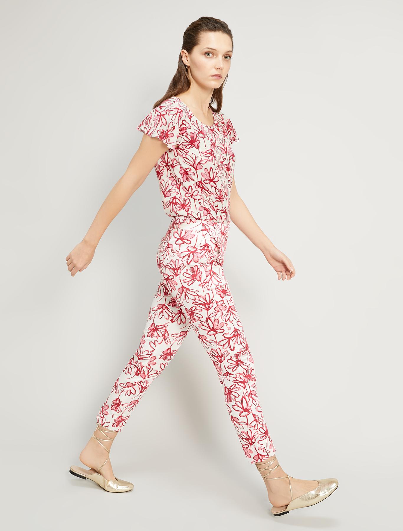 Printed poplin blouse - burgundy pattern - pennyblack