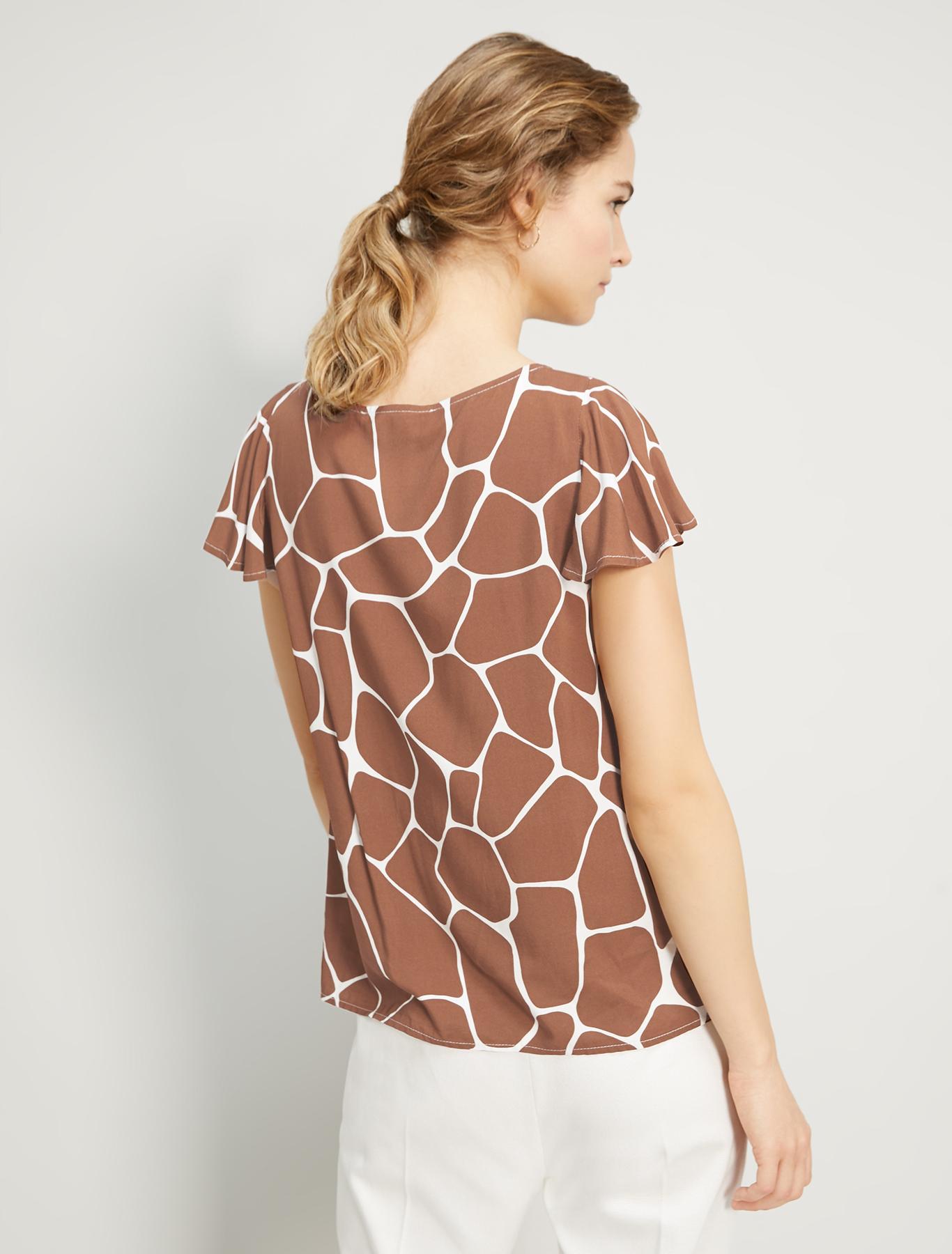 Printed poplin blouse - dark brown - pennyblack