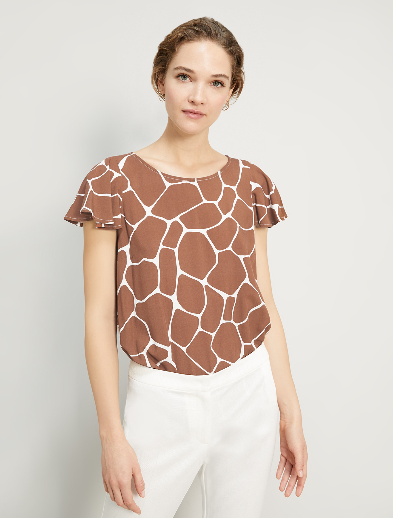 Printed poplin blouse - dark brown - pennyblack