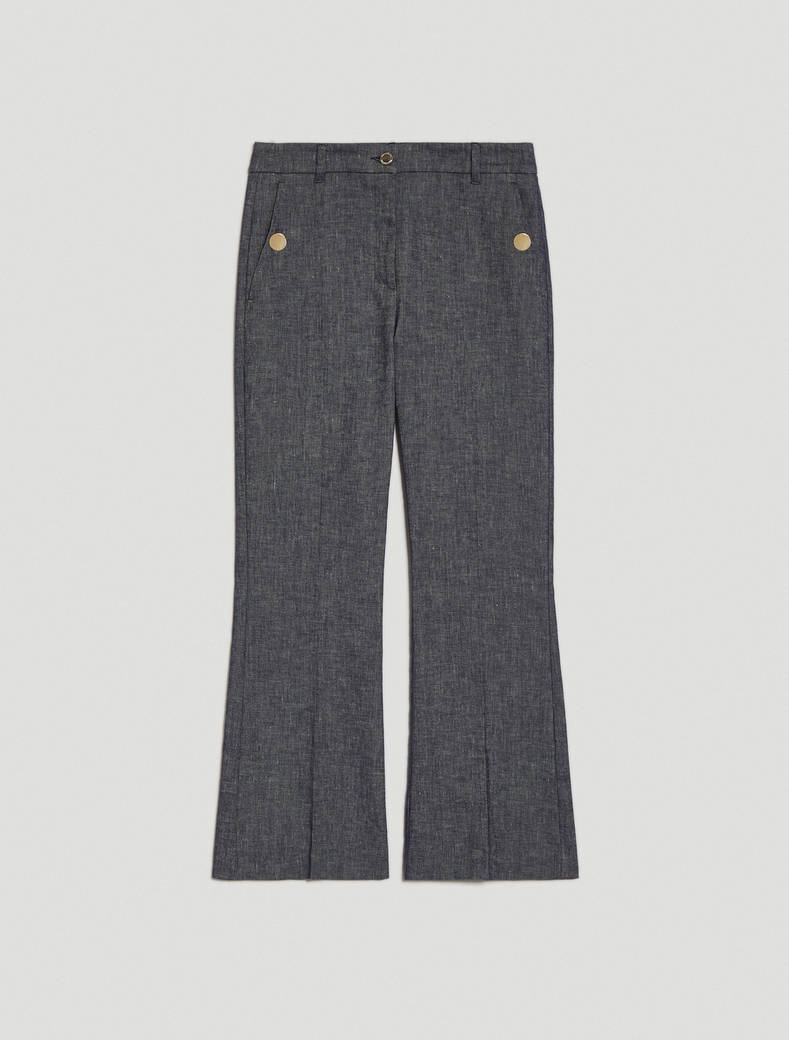 Linen and cotton trousers - navy blue - pennyblack