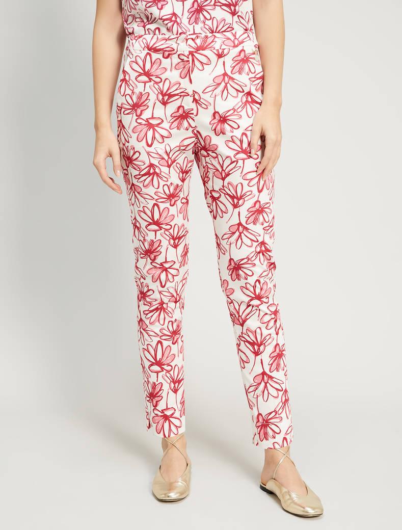Slim cotton satin trousers - burgundy pattern - pennyblack