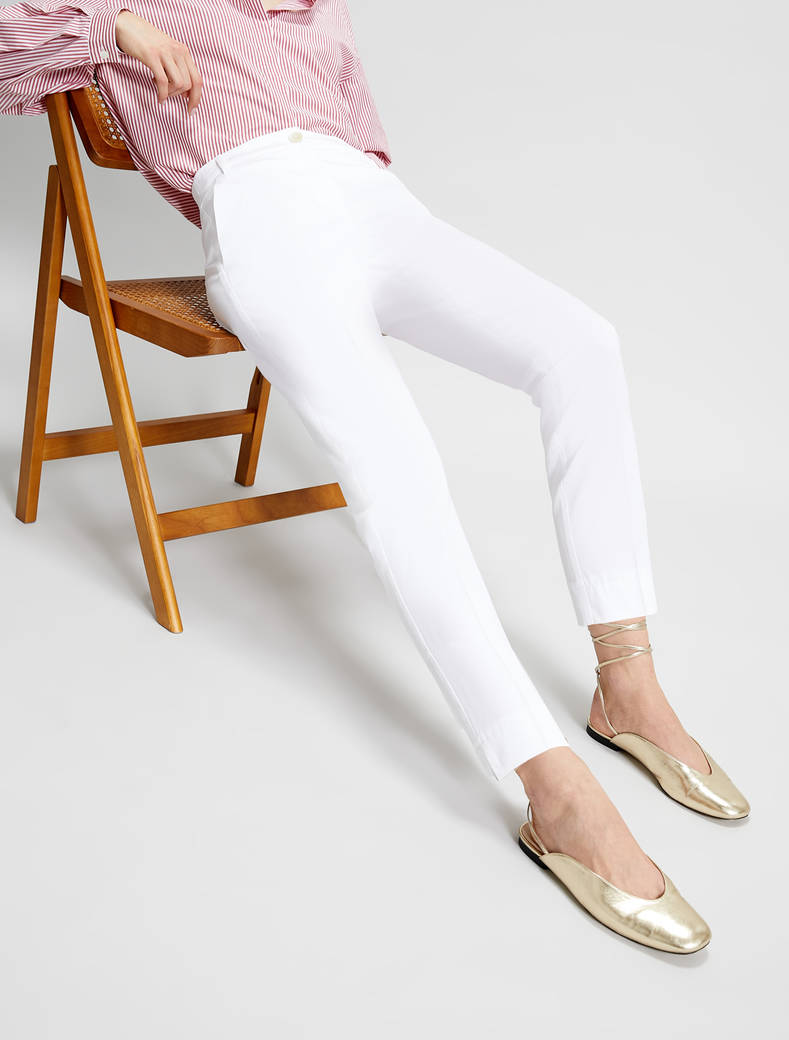 Slim cotton satin trousers - ivory - pennyblack