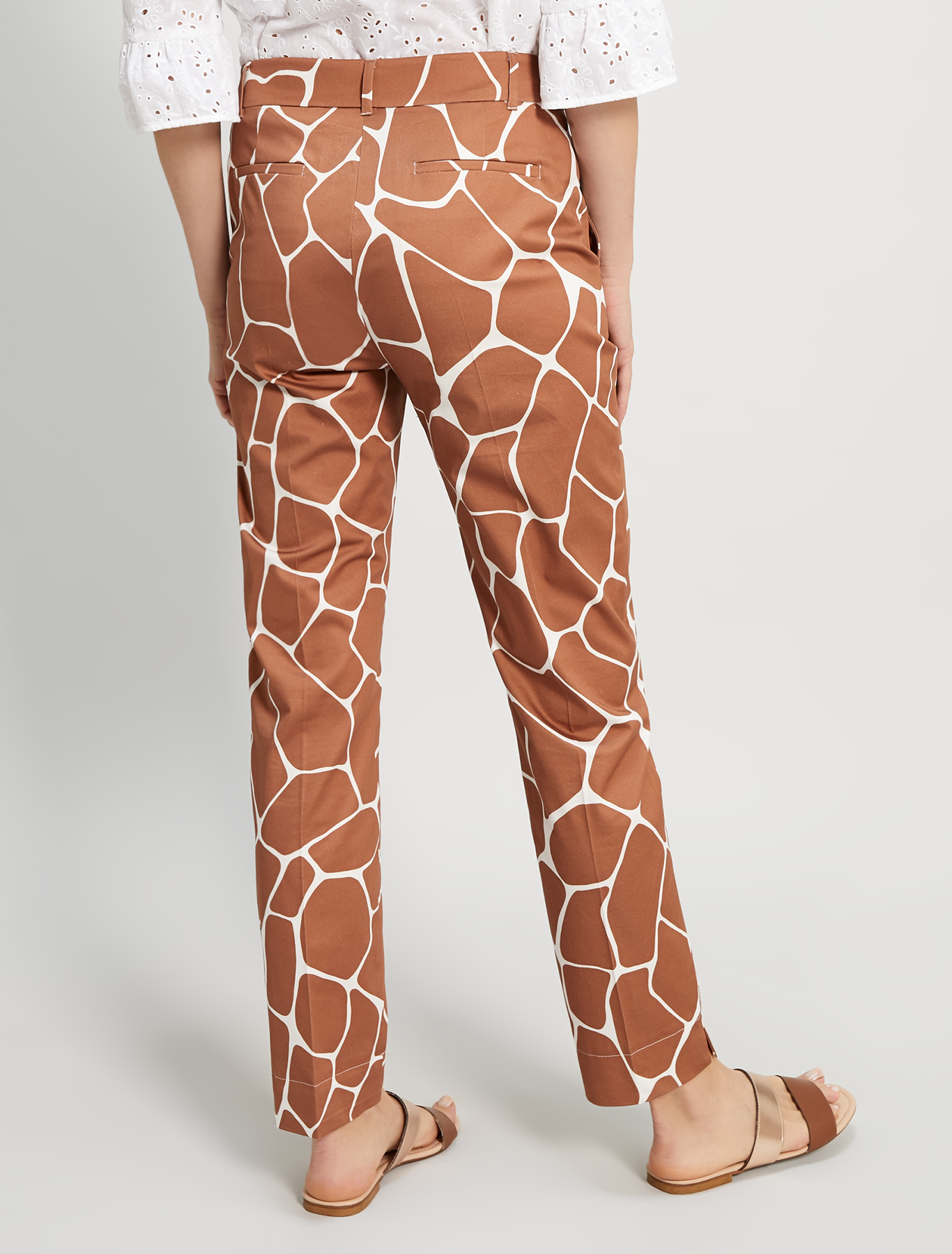 Slim cotton satin trousers - dark brown - pennyblack