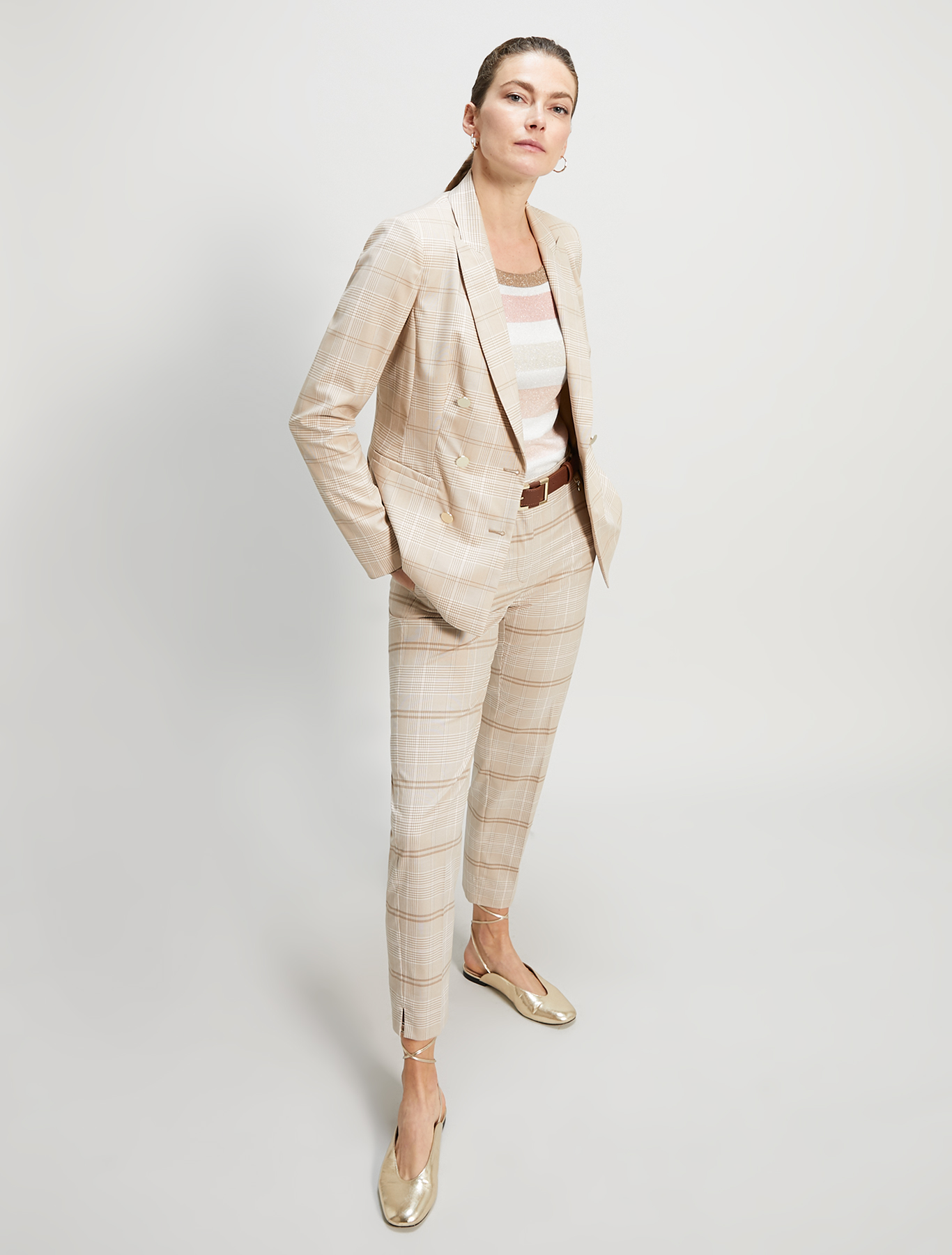 Check-pattern slim trousers - beige pattern - pennyblack