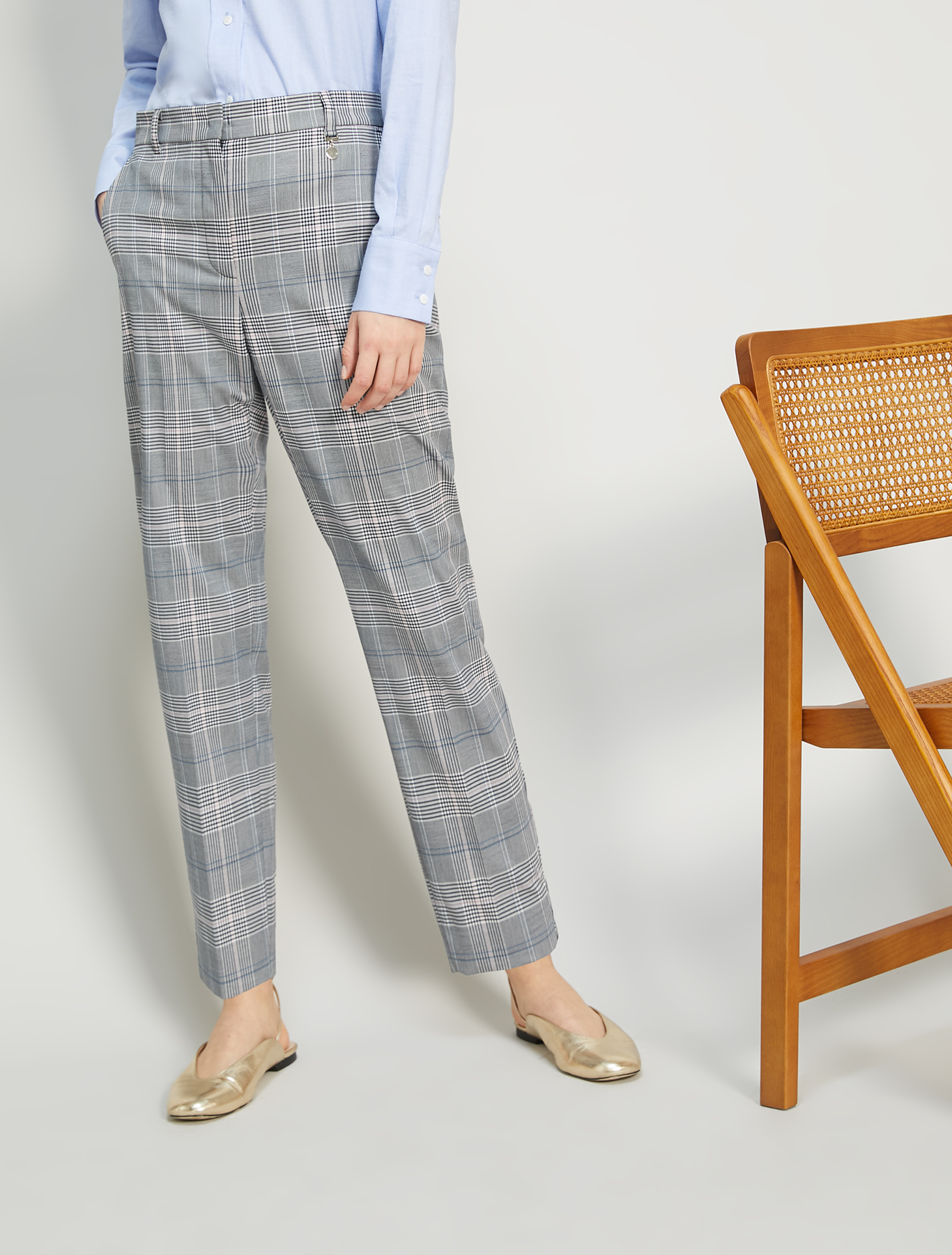 Check-pattern slim trousers - navy blue pattern - pennyblack