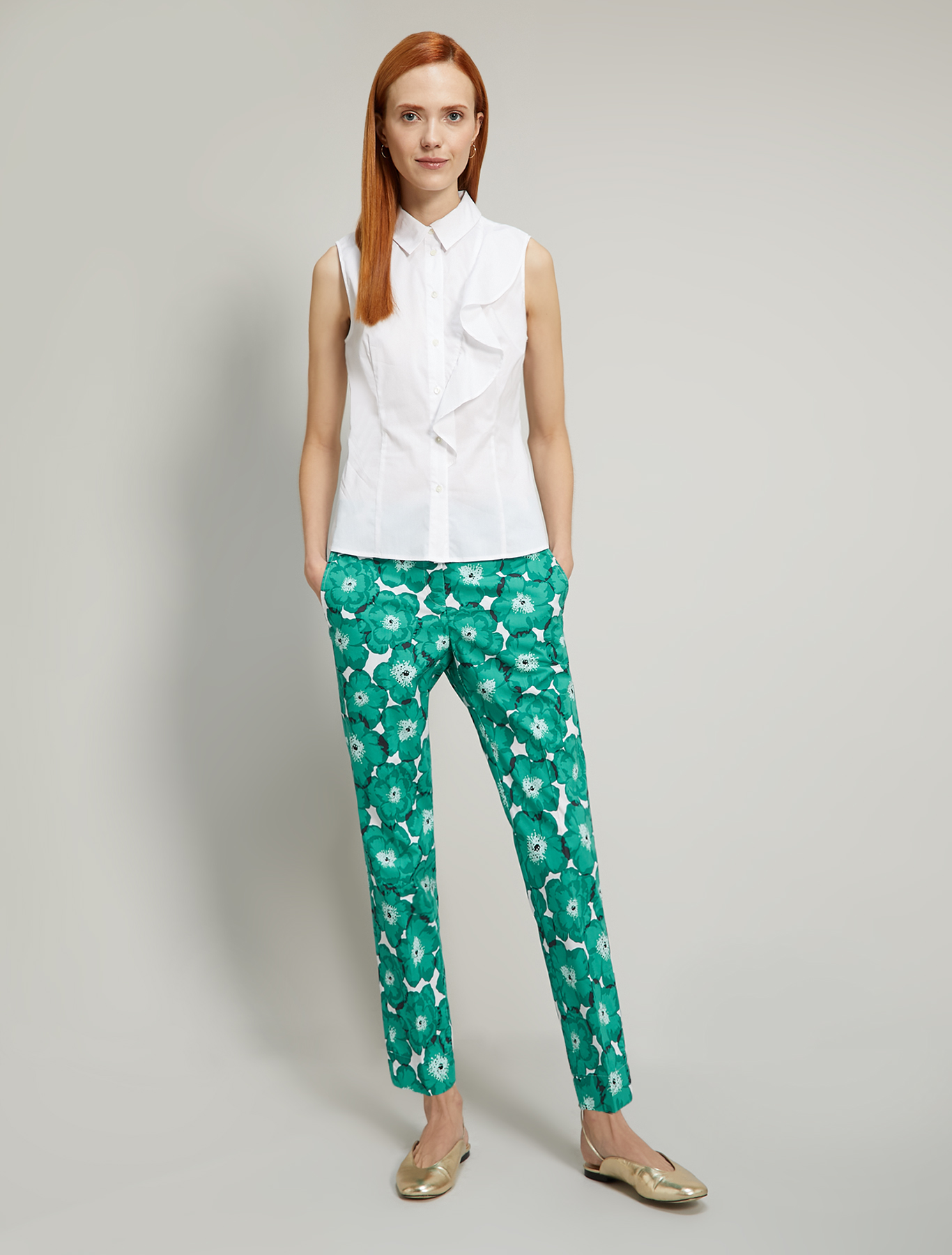 Floral poplin trousers - emerald green pattern - pennyblack