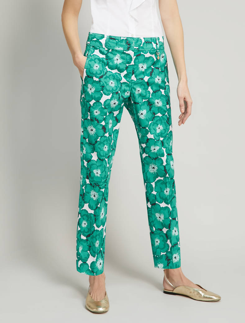 Pantaloni in popeline floreale - fantasia verde smeraldo - pennyblack