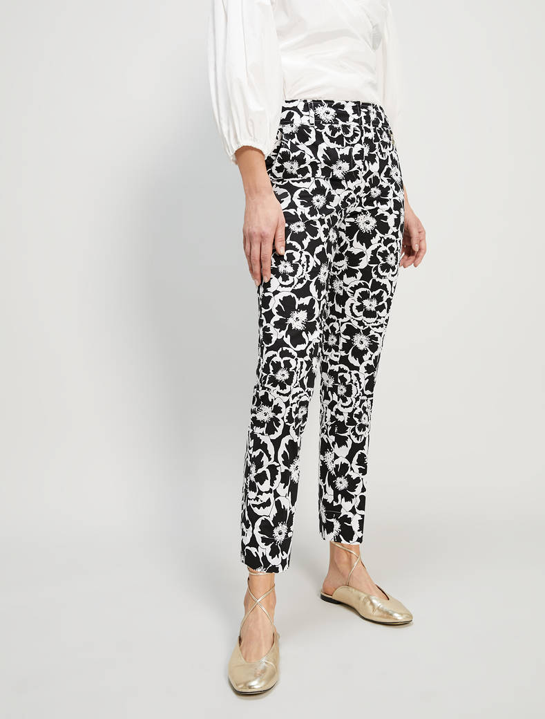 Pantaloni in popeline floreale - fantasia nero - pennyblack