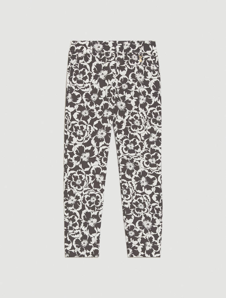 Floral poplin trousers - black pattern - pennyblack