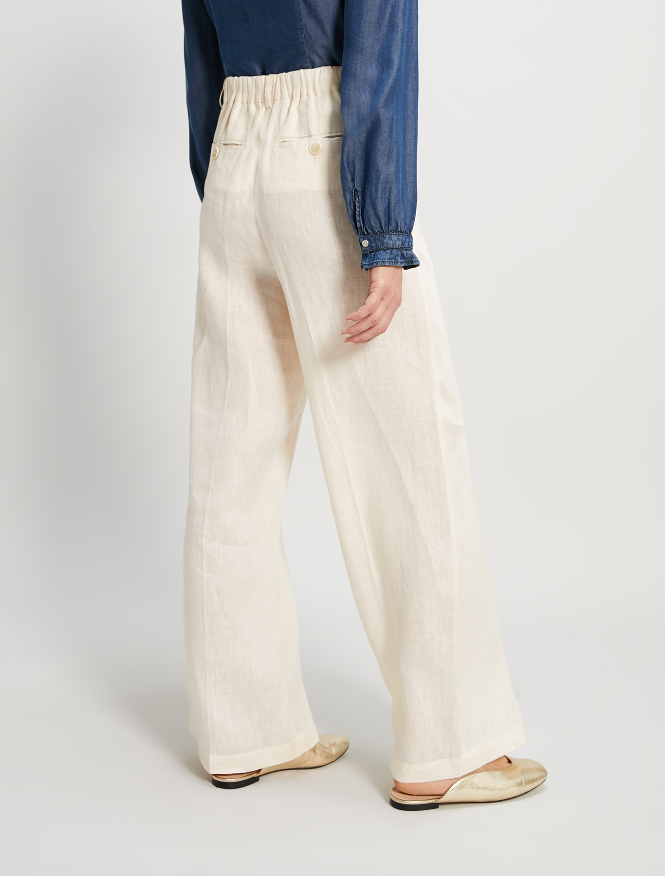 Pure linen trousers - ivory - pennyblack
