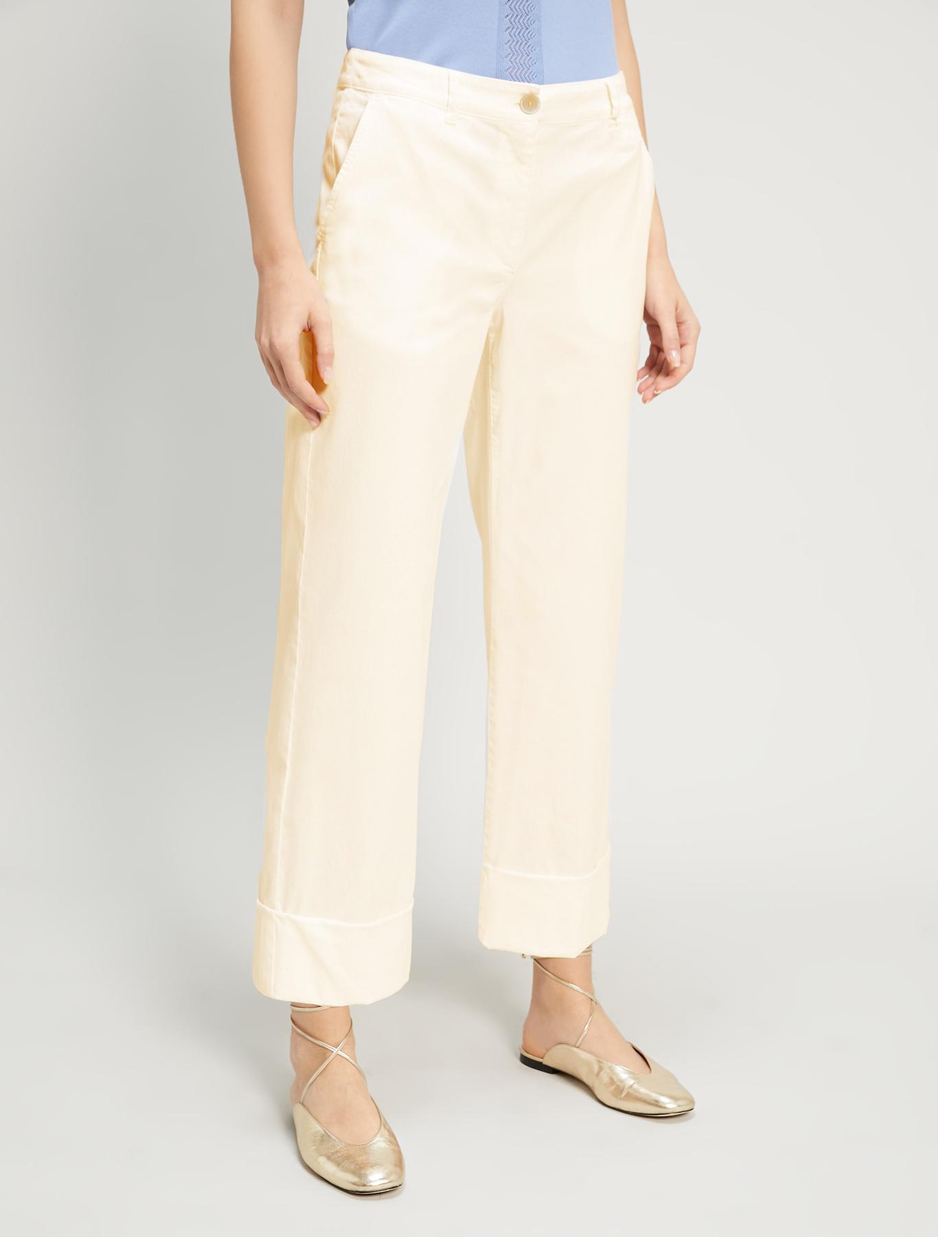 Wide-leg twill trousers - beige - pennyblack