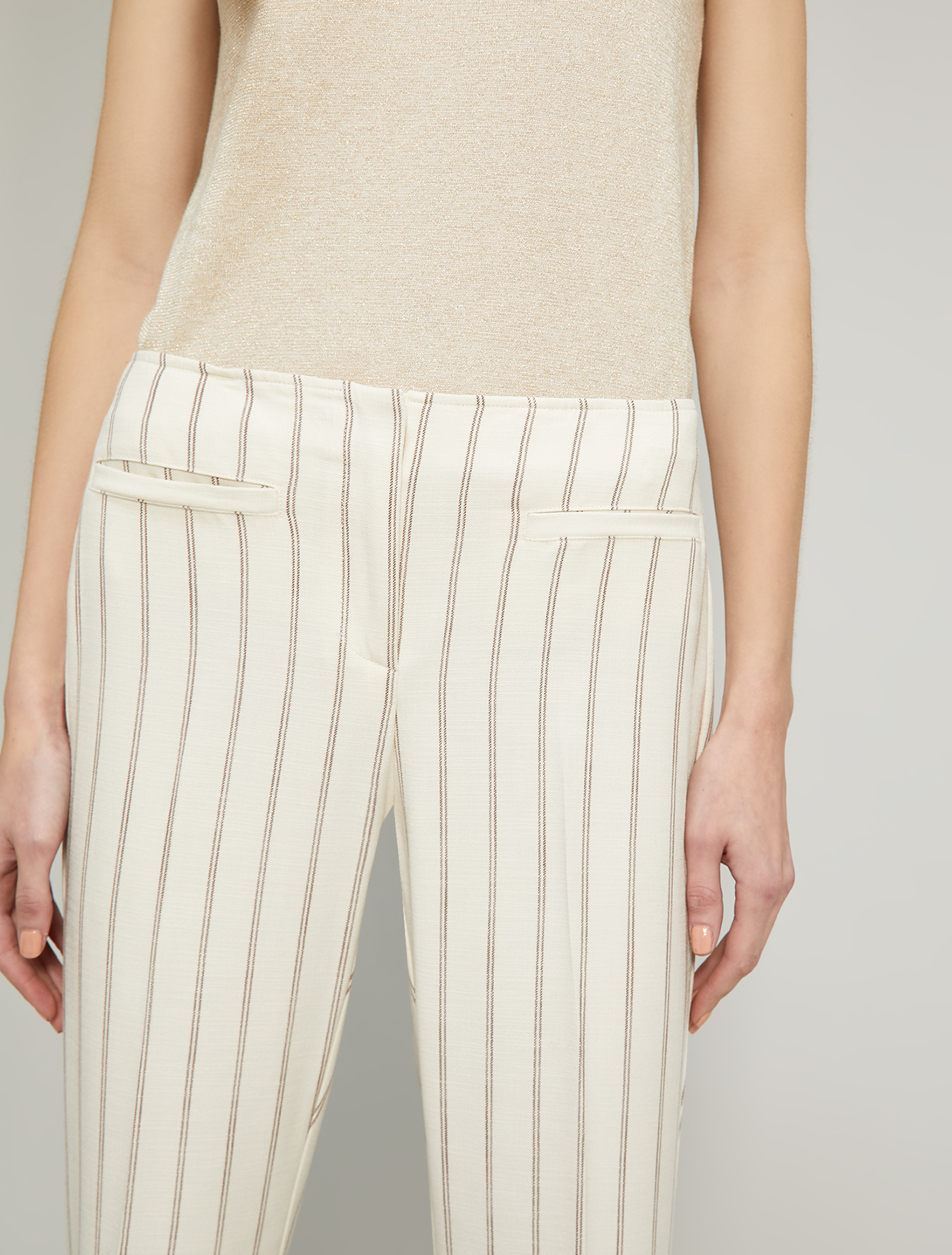 Slubbed basketweave trousers - beige pattern - pennyblack