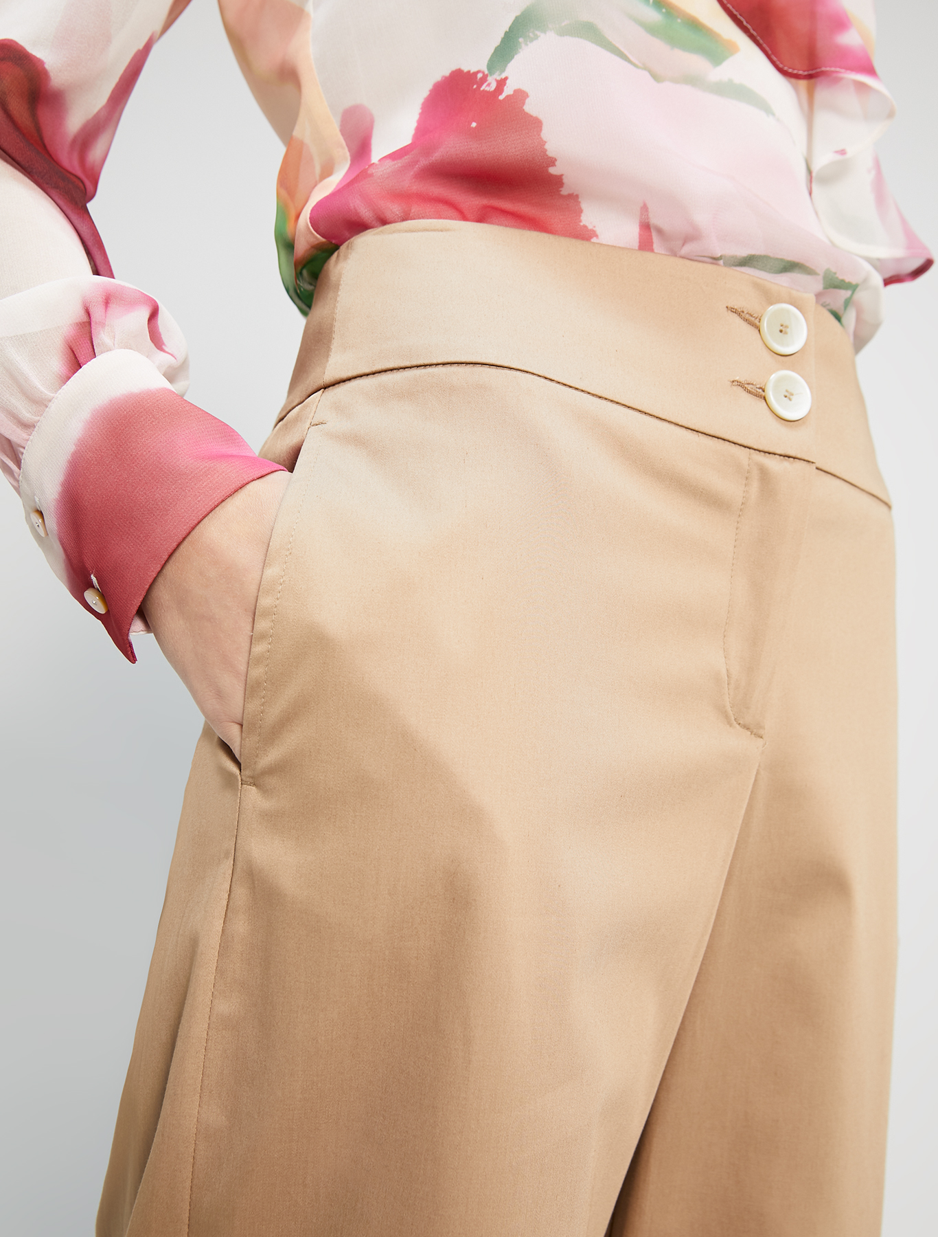 Wide-leg cotton satin trousers - hazelnut - pennyblack