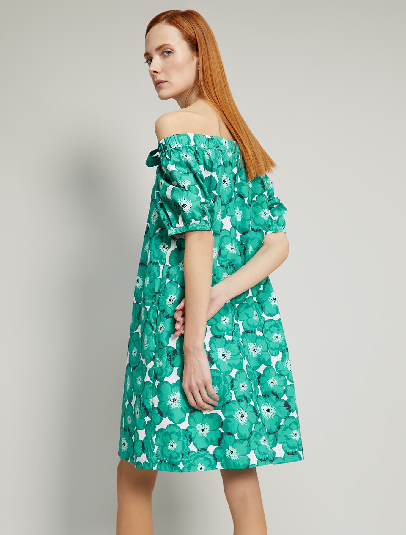 Cotton poplin dress - emerald green pattern - pennyblack