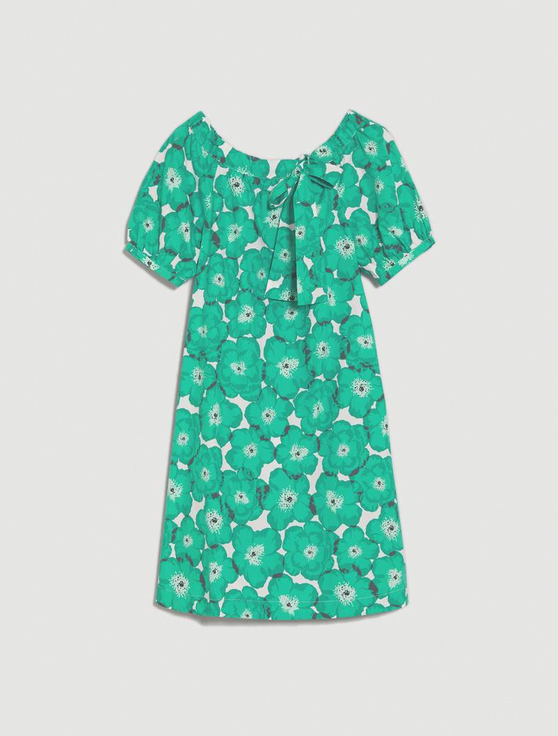 Cotton poplin dress - emerald green pattern - pennyblack