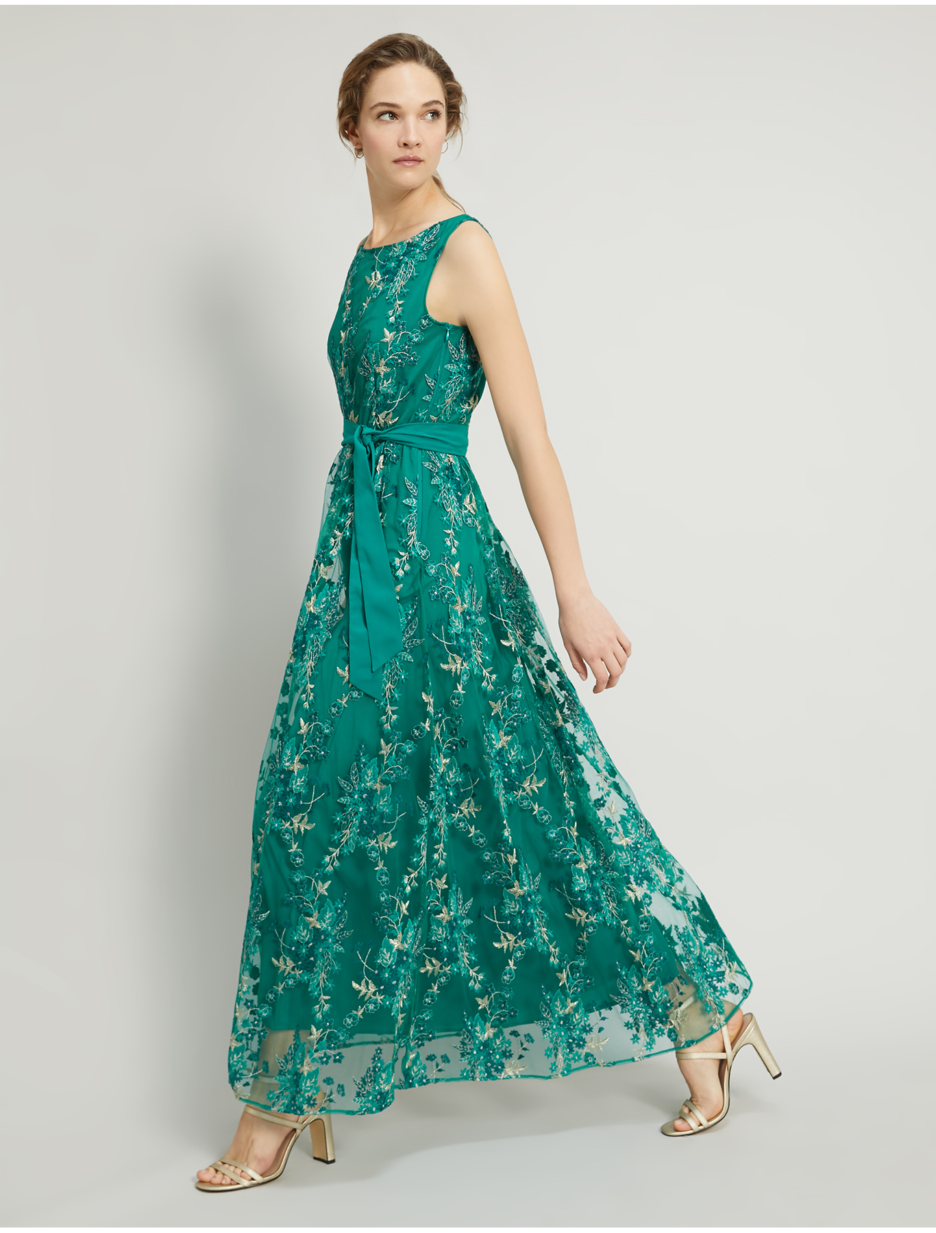 Long embroidered tulle dress - emerald green pattern - pennyblack