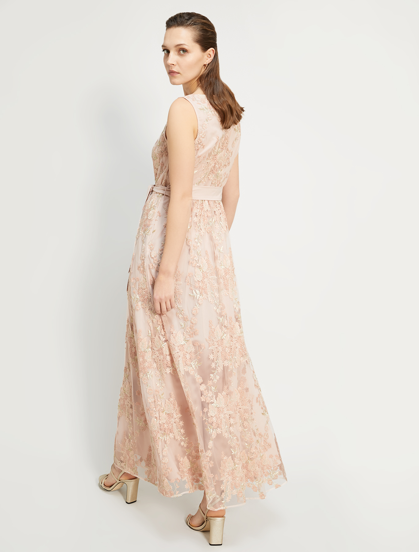 Long embroidered tulle dress - rose pink pattern - pennyblack