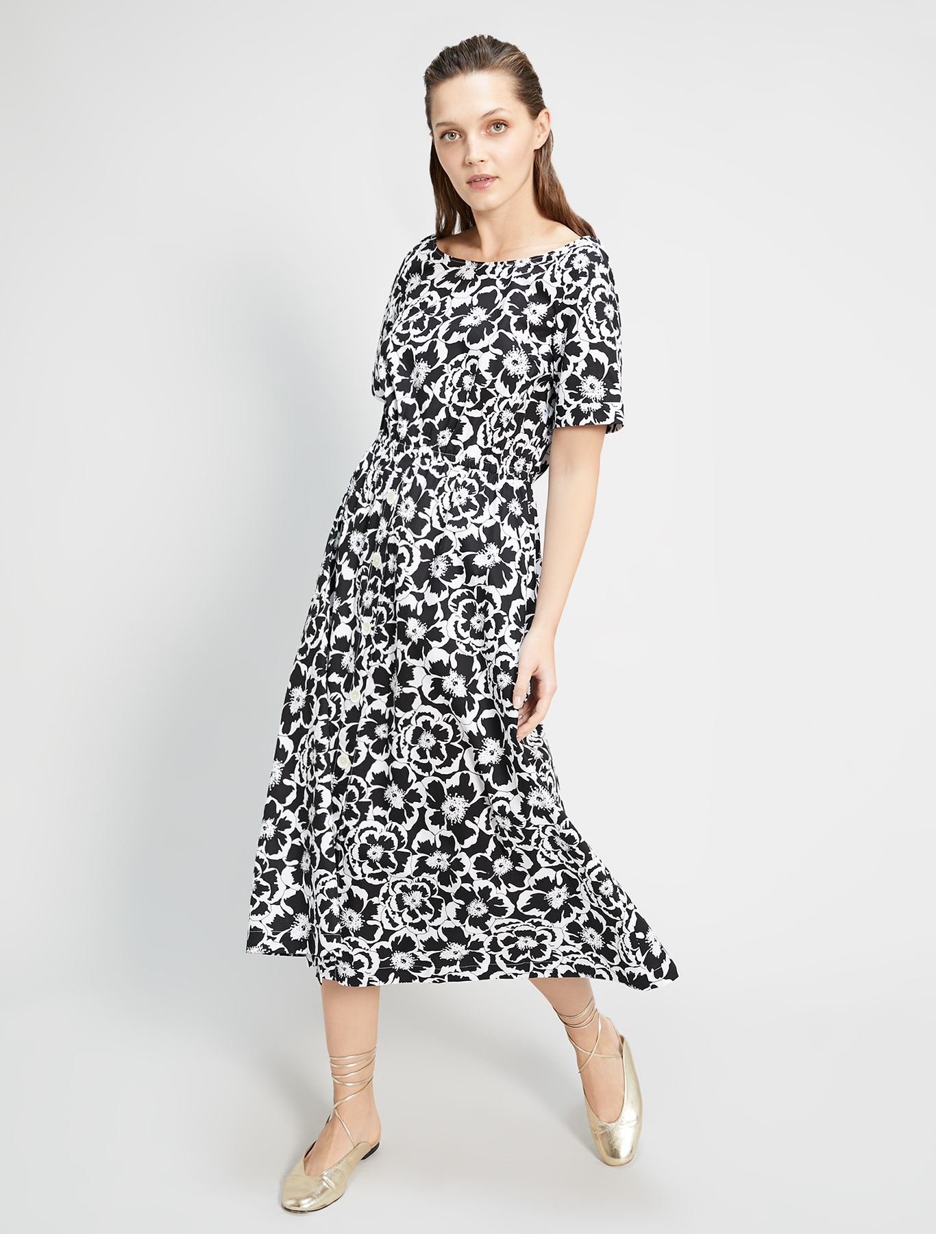 Floral poplin dress - black pattern - pennyblack
