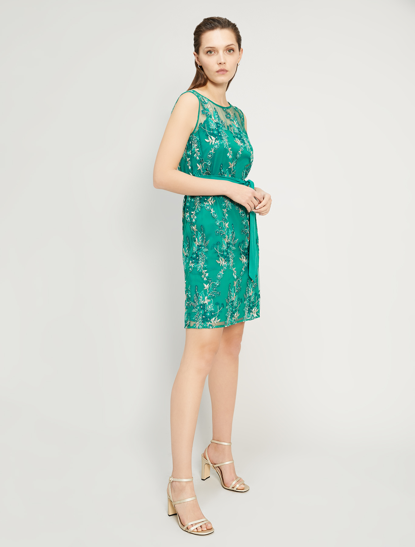 Embroidered tulle dress - emerald green pattern - pennyblack