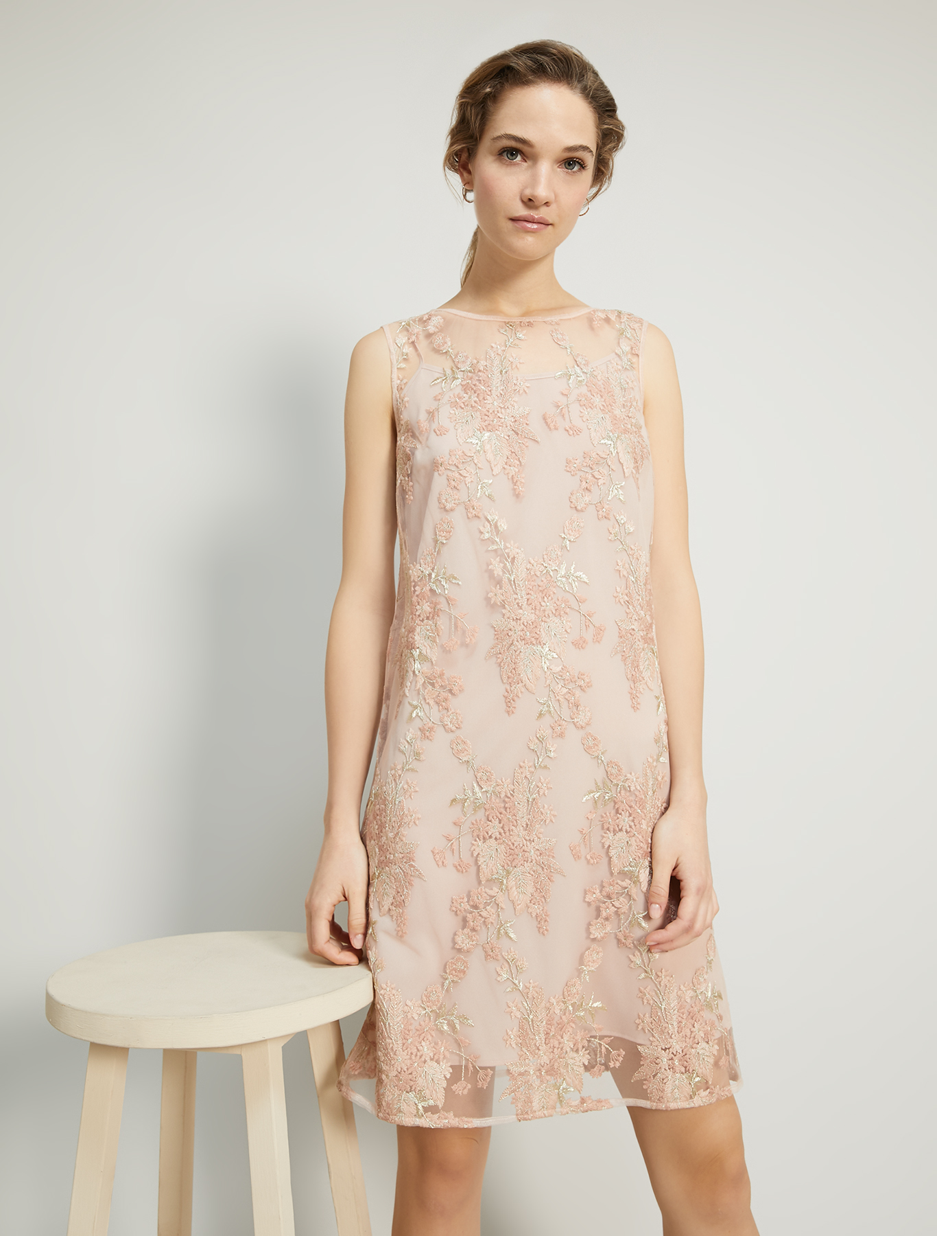 Embroidered tulle dress - rose pink pattern - pennyblack