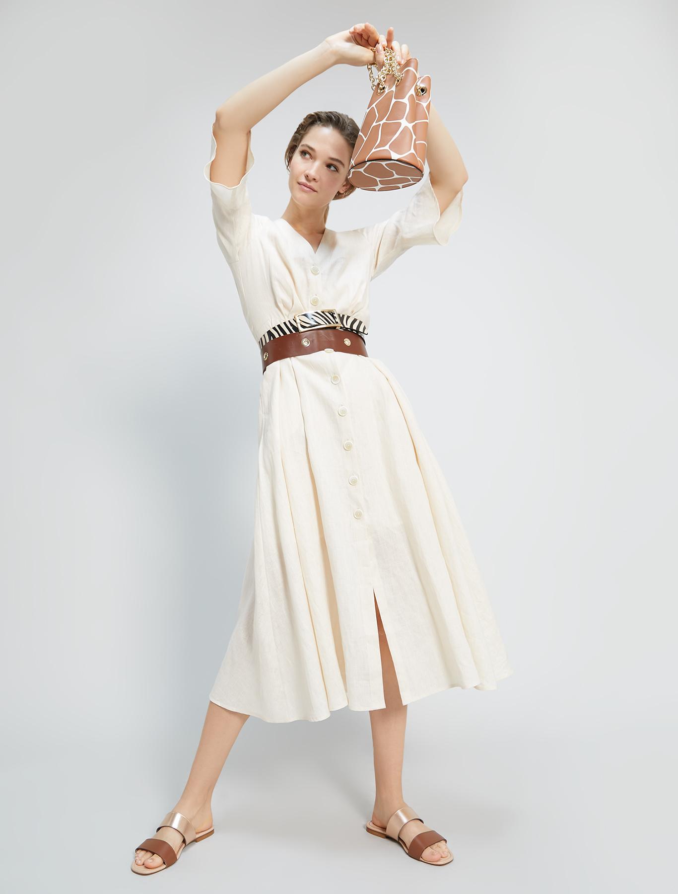 Pure linen shirt dress - ivory - pennyblack