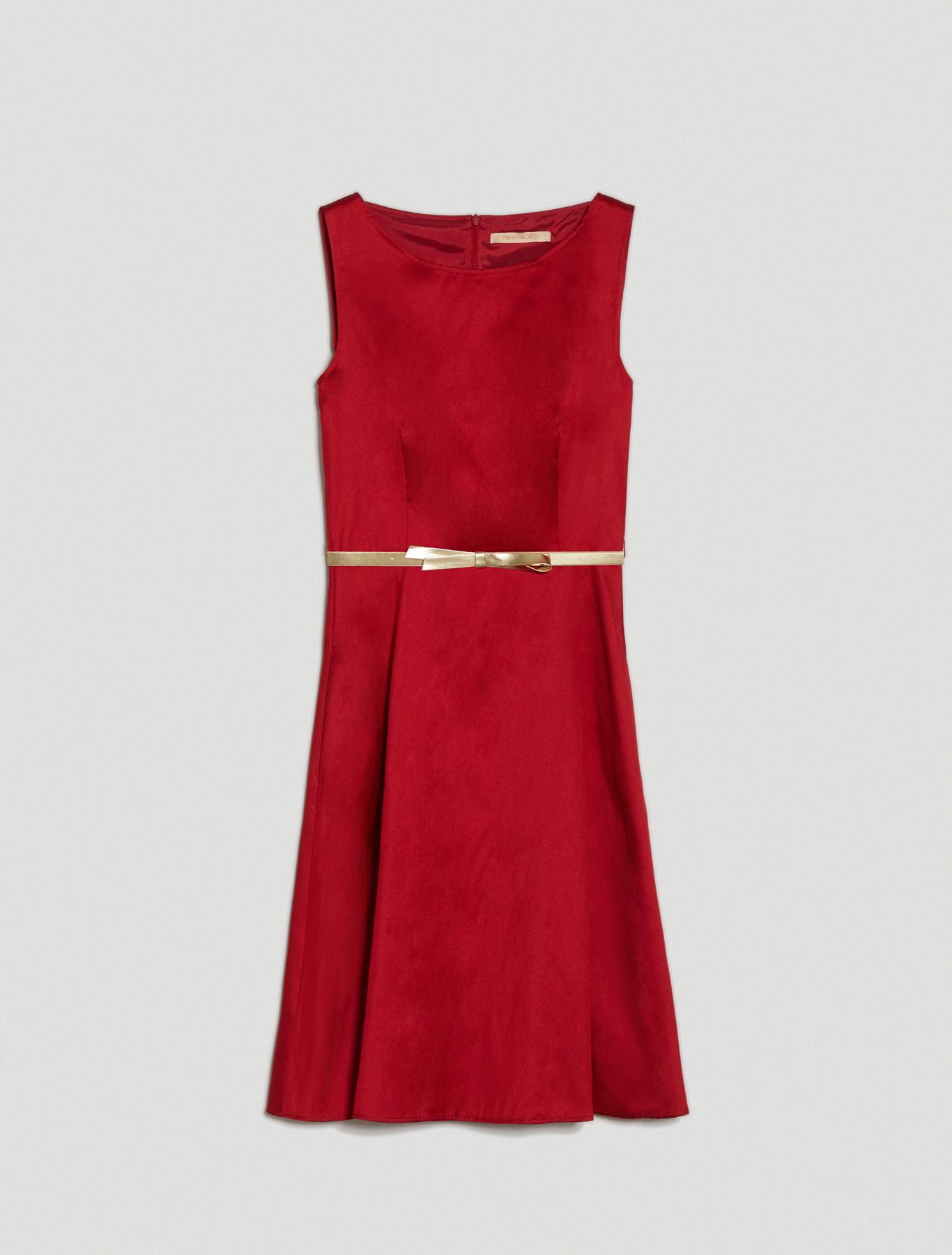 Fit & flare dress in taffeta - red - pennyblack