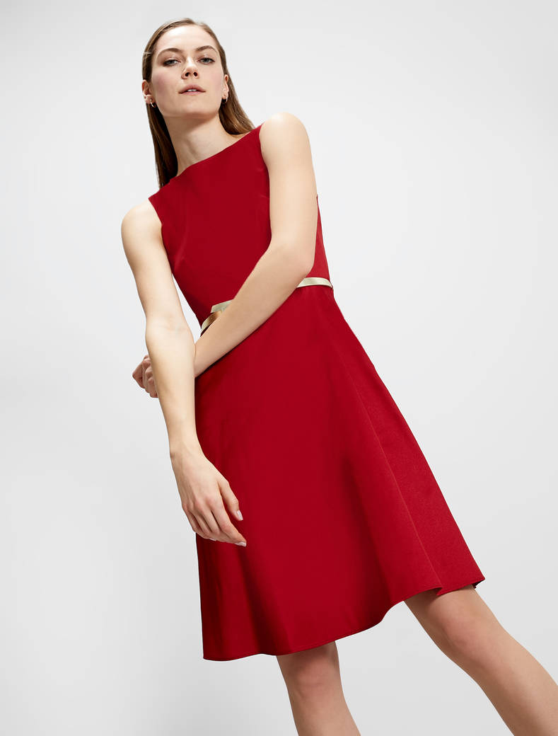 Fit & flare dress in taffeta - red - pennyblack