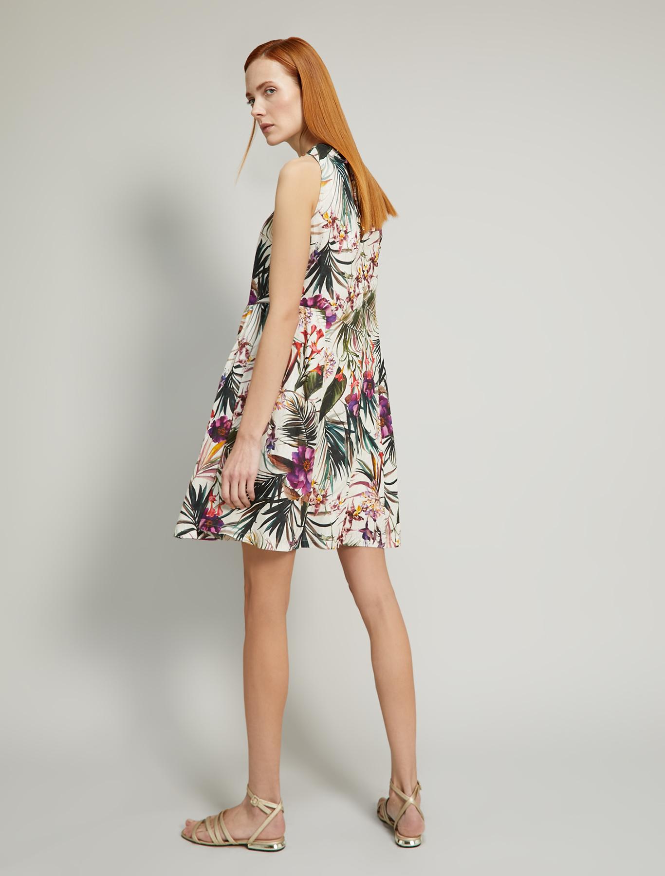 Pure linen dress - ivory pattern - pennyblack