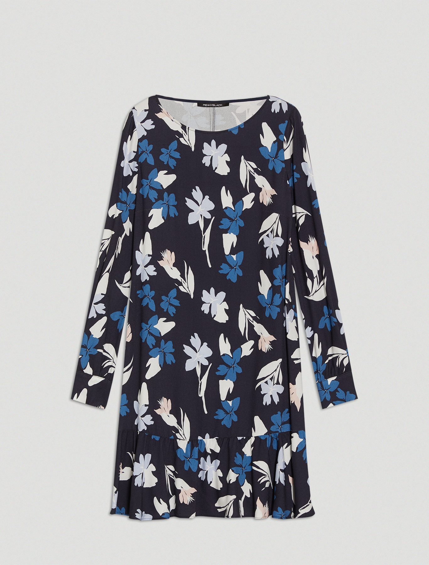 Printed sablé dress - midnight blue pattern - pennyblack