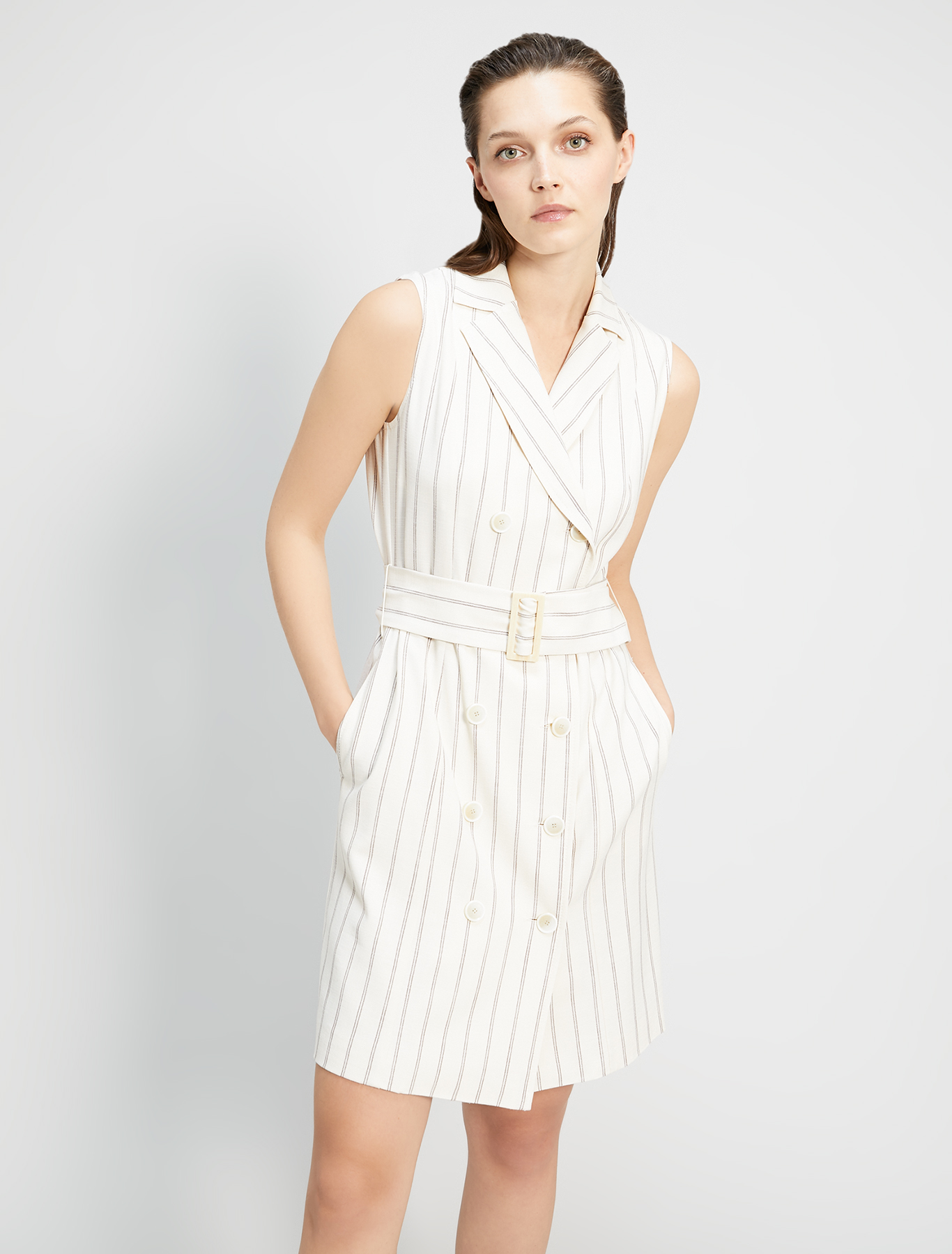 Slubbed basketweave shirt dress - beige pattern - pennyblack