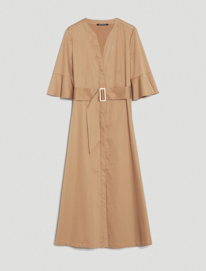 Cotton satin shirt dress - hazelnut - pennyblack