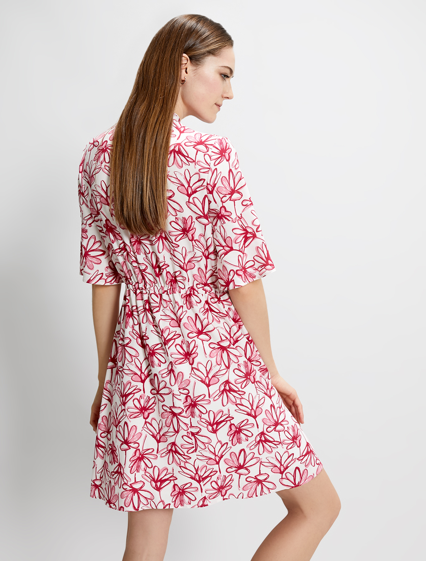 Dress in printed poplin - burgundy pattern - pennyblack