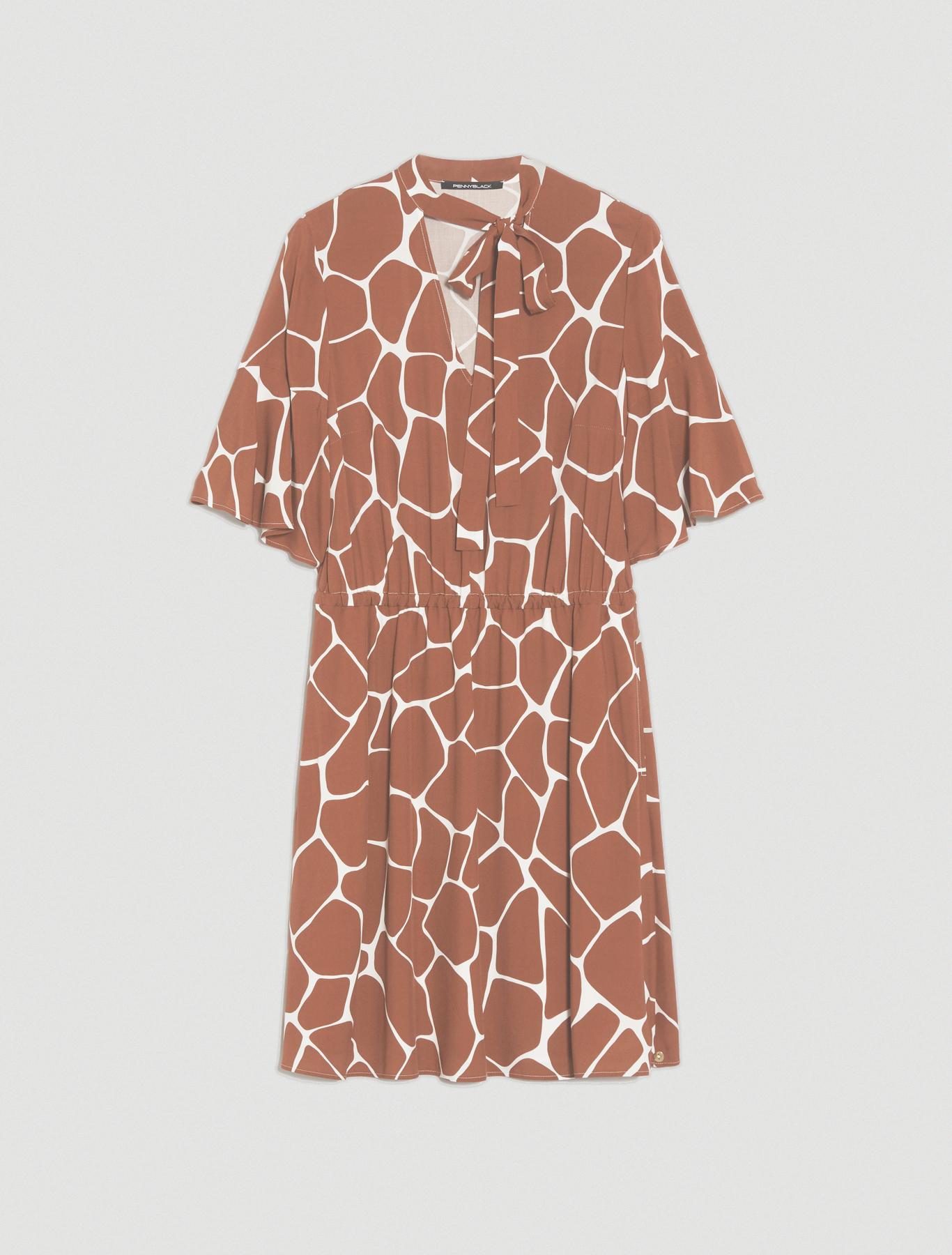 Dress in printed poplin - dark brown - pennyblack