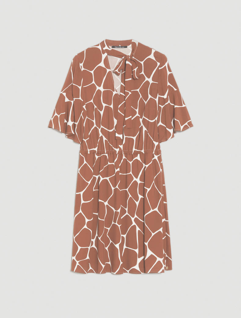 Dress in printed poplin - dark brown - pennyblack
