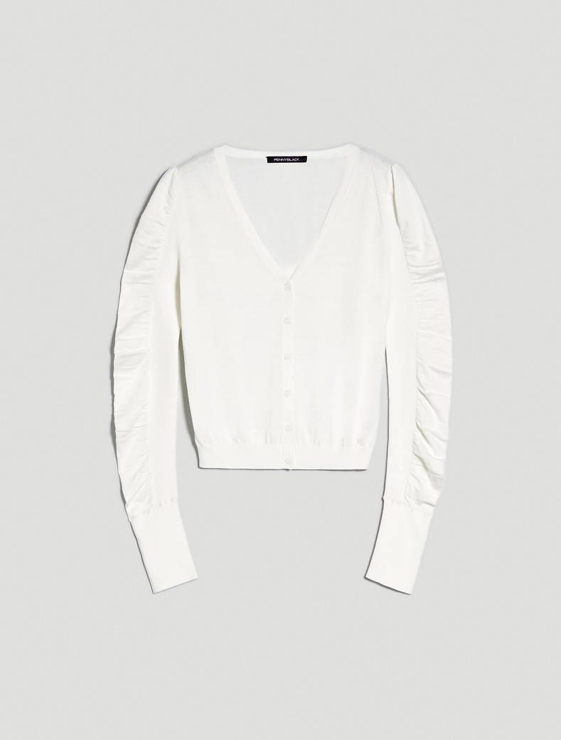 Cotton and silk cardigan - ivory - pennyblack