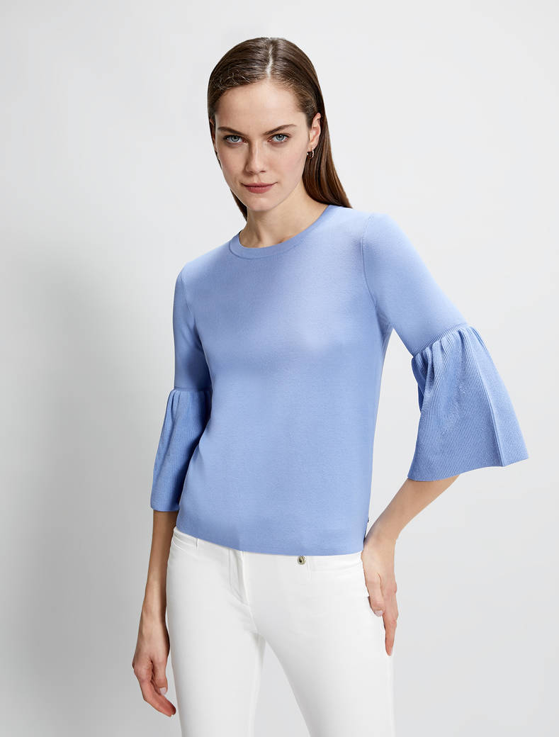 Jumper with flounced sleeves - air force blue - pennyblack