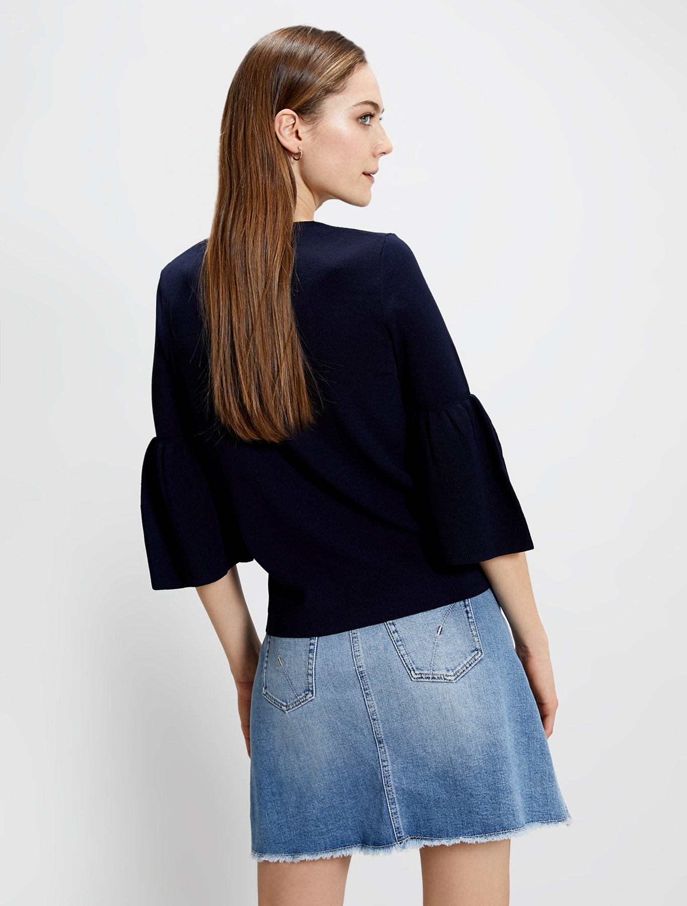 Jumper with flounced sleeves - navy blue - pennyblack