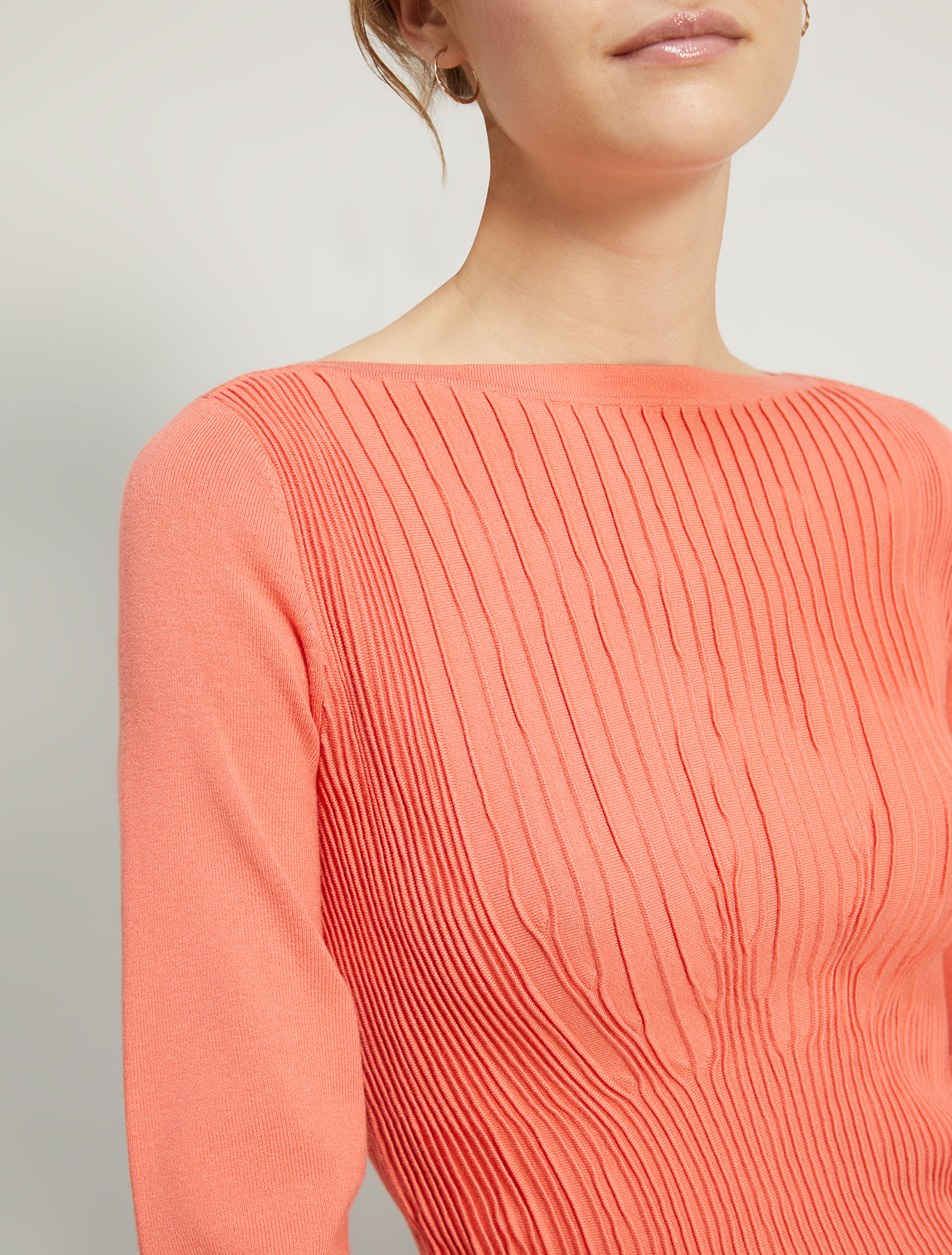 Jumper with pleated motif - salmon pink - pennyblack